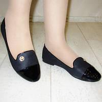 Балетки черные с лаковым носком