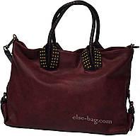 Женская бордовая сумка с заклепками, фото 1