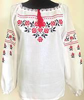 Женская блузка вышиванка льняная  больших размеров  Людмила фасон  в размерах 42, 44, 46, 48, 50, 52,  54, 56