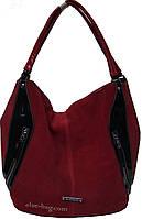 Женская красная сумка из натуральной замши, фото 1