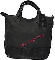 Мягкая черная женская сумочка FLORA