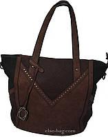 Коричневая мягкая женская сумка-тоут