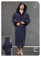 Халат мужской длинный с капюшоном NS-2840 Nusa синий, 3XL