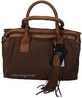 Кофейная женская сумка с плисеровкой, фото 1