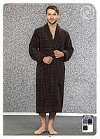 Халат мужской длинный без капюшона NS-2860 Nusa коричневый, 3XL