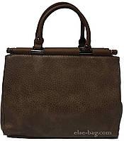 Темно бежевая женская сумка на палочках, фото 1