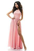 Восхитительное женское платье в пол с пышной юбкой из креп шифона гипюр трикотажная подкладка