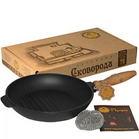 Сковорода чугунная литая круглая (гриль) 24*4см