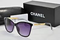 Солнцезащитные очки квадратные Chanel черные с белым, фото 1