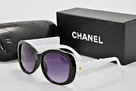 Солнцезащитные очки прямоугольные Chanel черные с белым, фото 1