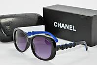 Солнцезащитные очки прямоугольные Chanel черные с синим, фото 1