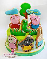 Детский Торт  Свинка Пеппа на полянке  (кремовый без мастики)
