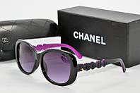 Солнцезащитные очки прямоугольные Chanel черные с фиолетовым, фото 1
