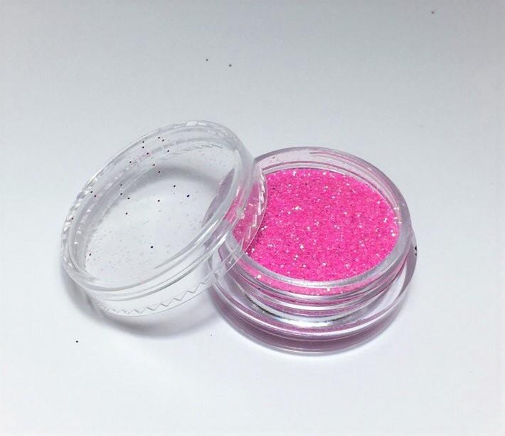 Блискітки для нігтів в баночці, колір рожевий