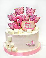 Детский Торт  с пряниками для девочки  (кремовый без мастики)