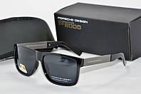 Солнцезащитные очки прямоугольные Porsche Design черные глянцевые