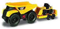 Игрушечные машинки и техника «Toy State» (34762) минитрейлер Самосвал и прицеп с  погрузчиком САТ, 28 см (свето-звуковые эффекты)