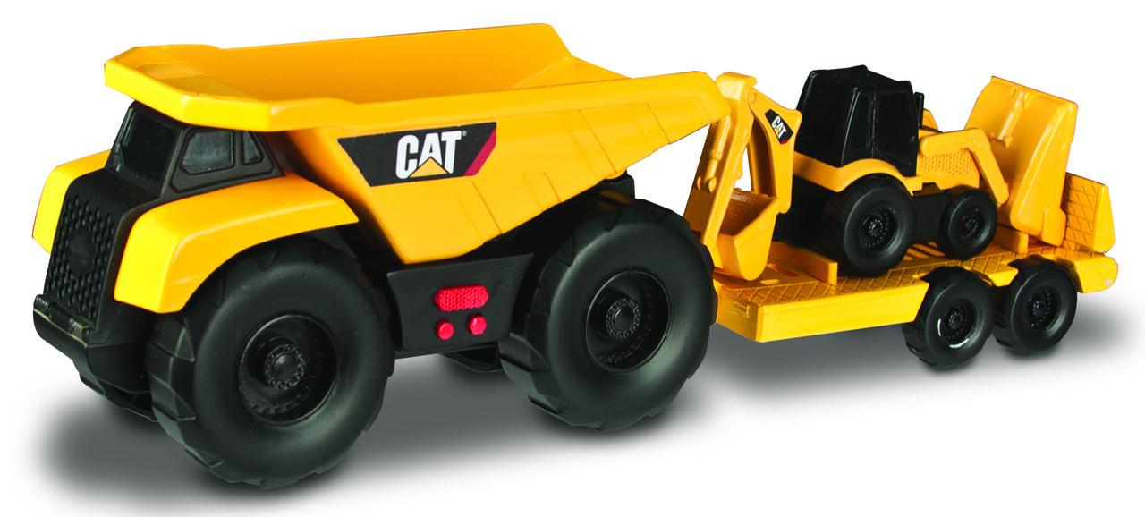 Минитрейлер Самосвал и прицеп с  двуковшовым экскаватором САТ, 28 см (свето-звуковые эффекты) «Toy State»