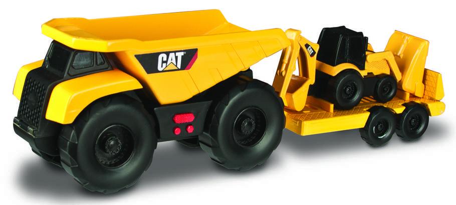 Минитрейлер Самосвал и прицеп с  двуковшовым экскаватором САТ, 28 см (свето-звуковые эффекты) «Toy State», фото 2