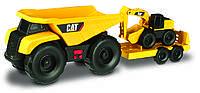 Игрушечные машинки и техника «Toy State» (34761) минитрейлер Самосвал и прицеп с  экскаватором САТ, 28 см (свето-звуковые эффекты)