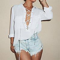 Женская рубашка на завязках с карманами, фото 1