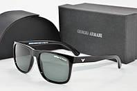 Солнцезащитные очки прямоугольные Armani черные