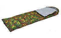 Спальный мешок одеяло с капюшоном камуфляж SY-4051 (PL,х-б, 400г на м2,р-р 177+30х75см, t +15 до -5)