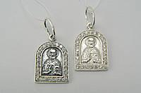 Подвеска-кулон серебряный Святой Николай с камнями