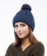Женская шапка « Katrin» с помпоном из натурального меха.