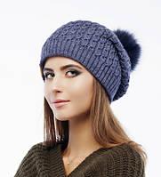Женская шапка «Klass» с помпоном из натурального меха