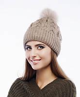 Женская шапка «Belka» с натуральным меховым помпоном
