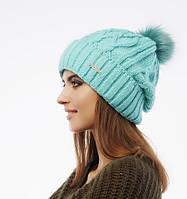 Женская зимняя шапка «Asya» с помпоном из натурального меха