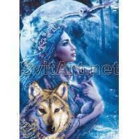 Ткань с рисунком для вышивки бисером Девушка с волчонком