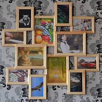 Рамка из дерева на 12 фотографий, коричневая (шоколад).