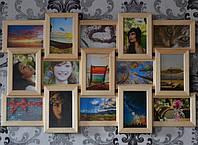 Рамка коллаж на стену на 15 фото деревянная бежевая, фото 1