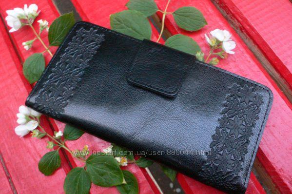 Кожаные кошельки Орнамент Вышиванка Цветы Завиток Ассортимент Киев в наличии