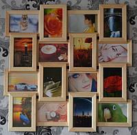Рамка для фотографий деревянная на 16 фото, бежевая дерево, фото 1