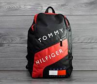 Городской стильный рюкзак Tommy Hilfiger, Тимми Хилфиджер черный с красным