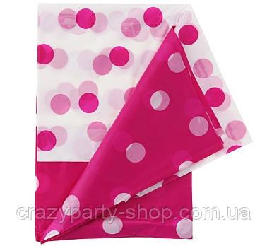 Скатерть праздничная ярко-розовая в горошек