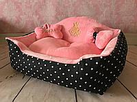 Лежак Сладкий сон черный с розовым