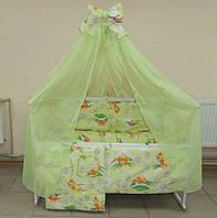 Красивый зеленый балдахин для детской кроватки. Шифон
