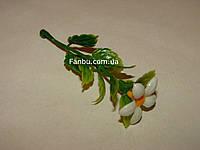 Добавка-цветок к искусственным букетам -  маргаритка белая  (h-9см)