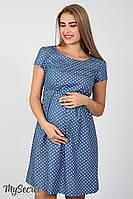 Легкое платье для беременных и кормящих Celena, сердечки на темном джинсе*