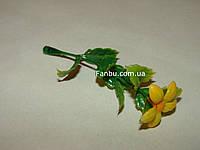 Добавка-цветок к искусственным букетам - маргаритка желтая  (h-9см)