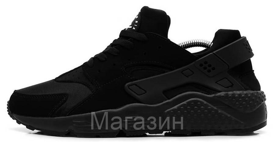 Женские кроссовки Nike Air Huarache Triple Black (в стиле найк хуарачи) черные