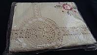 Скатерть с вышивкой и ажурной вязкой (лен)