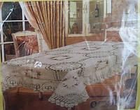 Красивая скатерть из льна (вышивка, ажурная вязка)