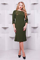 Женское модное платье с перфорацией Анюта цвет оливка размер 52-58