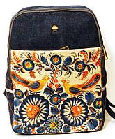 Джинсовый рюкзак две оранжевые птицы , фото 1