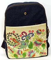 Джинсовый рюкзак синяя птица на белом